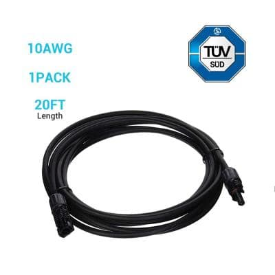 20 ft. 10 AWG Solar Panel Extension Cable with Male and Female Connectors