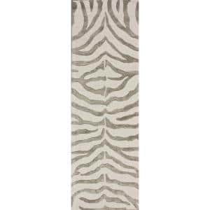 Zebra Stripes Gray 3 ft. x 8 ft. Runner