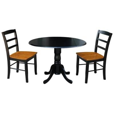 3-Piece 42 in. Black and Cherry Dual Drop Leaf Table Set with 2-Side Chairs