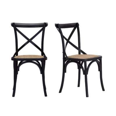 Mavery Black Wood Dining Chair with Cross Back and Woven Seat (Set of 2) (19 in. W x 34.6 in. H)