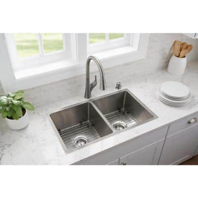 All-in-One Tight Radius Stainless Steel 31 in. 18-Gauge Double Bowl Undermount Kitchen Sink with Pull Down Faucet