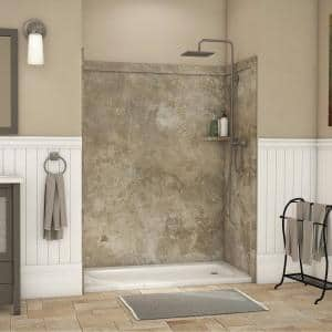 Royale 36 in. x 60 in. x 80 in. 11-Piece Easy Up Adhesive Alcove Bathtub/Shower Wall Surround in Mocha Travertine