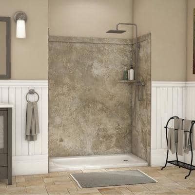 Adaptable 60 in. x 60 in. x 80 in. 9-Piece Easy Up Adhesive Alcove Shower Surround in Mocha Travertine