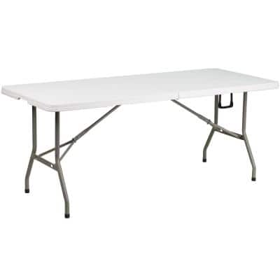 72 in. Granite White Plastic Tabletop Metal Frame Folding Table