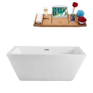 60.2 in. Acrylic Flatbottom Non-Whirlpool Bathtub in White