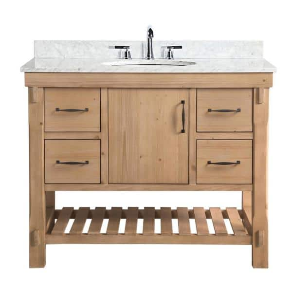 Ari Kitchen And Bath Marina 42 In Single Vanity In Driftwood With Marble Vanity Top In Carrara White Akb Marina 42dw The Home Depot