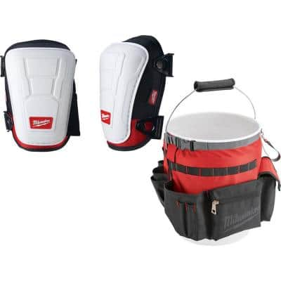 Non Marring Performance Knee Pad with Bucket Organizer Tool Bag