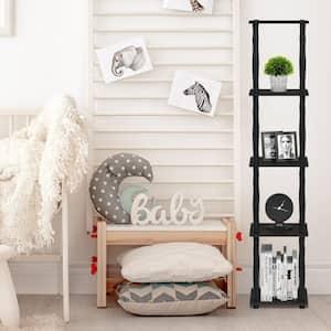57.7 in. Espresso/Black Plastic 5-shelf Corner Etagere Bookcase with Open Storage