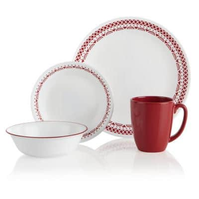 16-Piece Patterned Cordoba Glass Dinnerware Set (Service for 4)