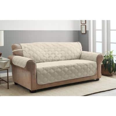 Hampton Sand 1-Piece Diamond Secure Fit XL Sofa Furniture Cover