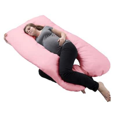 Pink U-Shaped Full Body Cotton Jersey Pillowcase