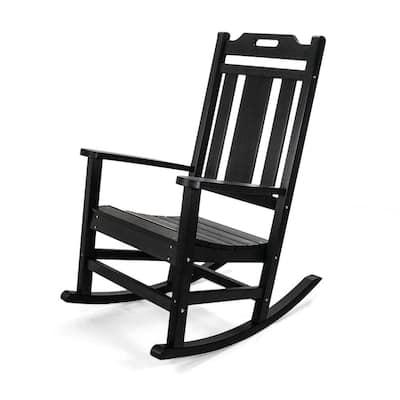 Modern All Weather Black Rocking Plastic Adirondack Chair