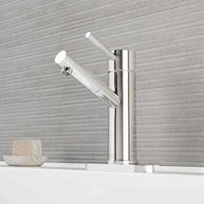 Noma Single-Handle Single Hole Bathroom Faucet with Deck Plate in Chrome