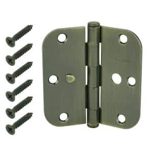 3-1/2 in. Antique Brass 5/8 in. Radius Security Door Hinges Value Pack (3-Pack)
