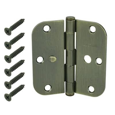 3-1/2 in. Antique Brass 5/8 in. Radius Security Door Hinges Value Pack (3-Pack)