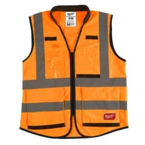 Performance Small/Medium Orange Class 2-High Visibility Safety Vest with 15 Pockets