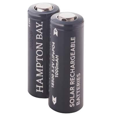 Lithium Phosphate 1000mAh Solar Rechargeable 18500 Batteries (2-Pack)