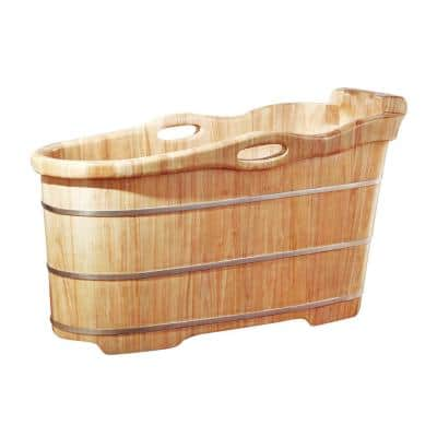 57 in. Wood Flatbottom Bathtub in Natural Wood
