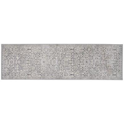 Skyline Gray 2 ft. x 7 ft. Floral Runner Rug