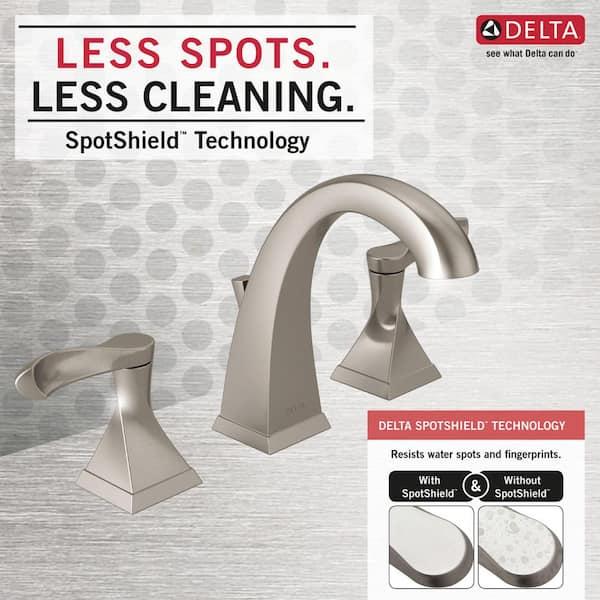 Widespread 2-Handle Bathroom Faucet SpotShield Brushed Nickel Delta Everly 8 in