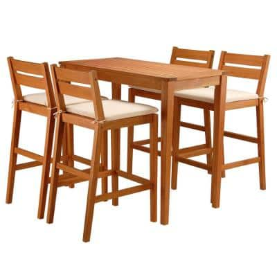5-Piece Wood Outdoor Eucalyptus Grandis Bar Table Set with Beige Cushions
