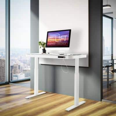 airLIFT 47.5 in. White Rectangular 1 -Drawer Standing Desk with Adjustable Height