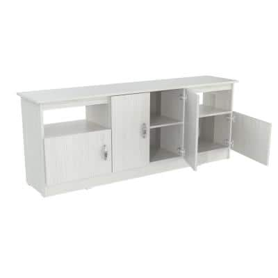 63 in. White Wood TV Stand Fits TVs Up to 60 in. with Storage Doors
