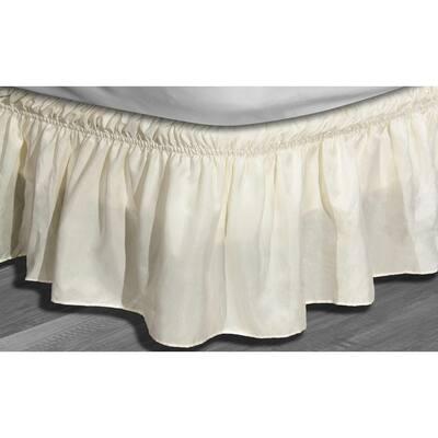 Waldorf 15 in. Beige Striped Full Bed Skirt