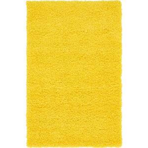 Solid Shag Tuscan Sun Yellow 3 ft. x 5 ft. Area Rug