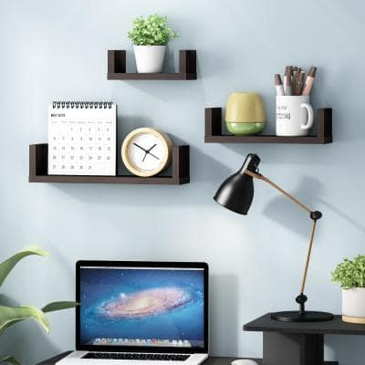 Indo Espresso Floating Decorative Wall Shelves (Set of 3)