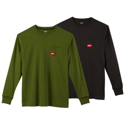 Men's Small Olive Green and Black Heavy-Duty Cotton/Polyester Long-Sleeve Pocket T-Shirt (2-Pack)