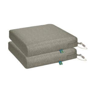 Weekend 17 in. W x 17 in. D x 3 in. Thick Square Outdoor Dining Seat Cushion in Moon Rock (2-Pack)