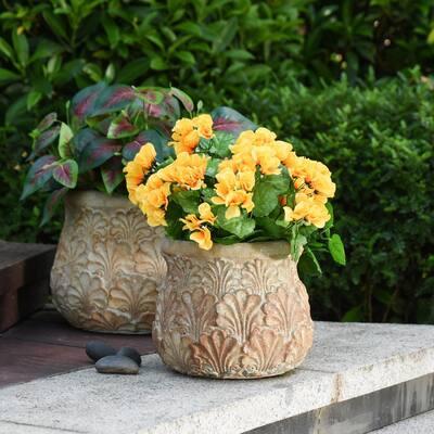 Tanbury 9 in. Cream Sage Concrete Decorative Vase
