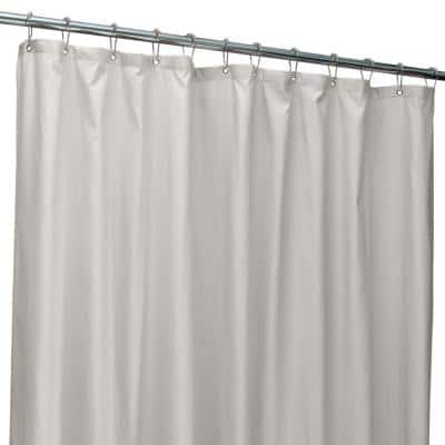 70 in. x 72 in. Silver Microfiber Soft Touch Dash Design Shower Curtain Liner