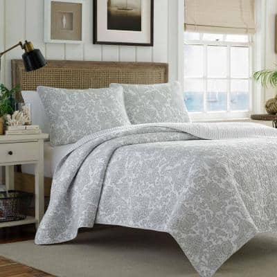 Island Memory 3-Piece Gray Cotton King Quilt Set