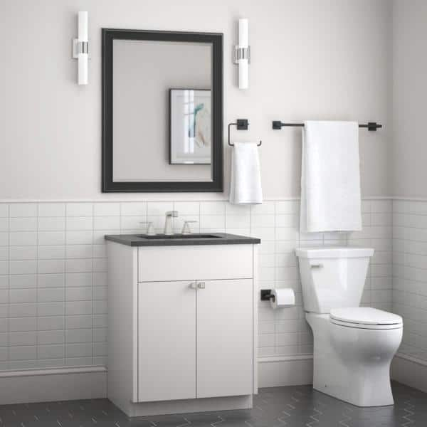 Franklin Brass Maxted 3 Piece Bath Hardware Set With Towel Ring Toilet Paper Holder And 24 In Towel Bar In Matte Black Max63 Mb R The Home Depot