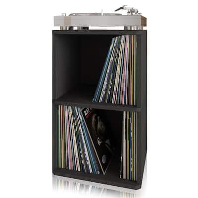 zBoard Black 2-Shelf Vinyl Record Storage and LP Record Album Shelf