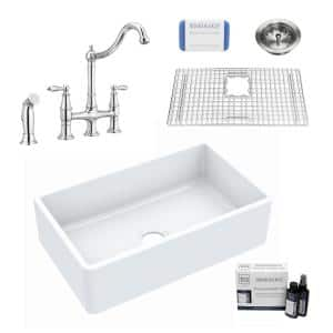 Inspire All-in-One Fireclay 30 in. Single Bowl Farmhouse Apron Front Kitchen Sink with Pfister Faucet and Drain