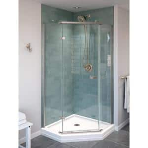 38 in. W x 72 in. H Neo-Angle Pivot Semi Frameless Corner Shower Enclosure in Stainless