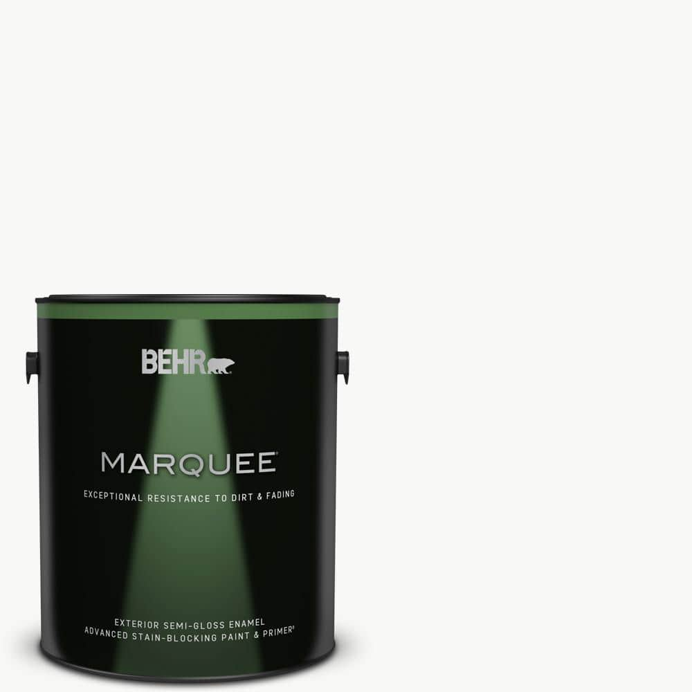 Behr Marquee 1 Gal Ultra Pure White Semi Gloss Enamel Exterior Paint Primer 545001 The Home Depot