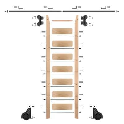 8 ft. Red Oak Library Ladder (9 ft. Reach) Black Rolling Ladder Kit with 8 ft. Rail and Horizontal Brackets
