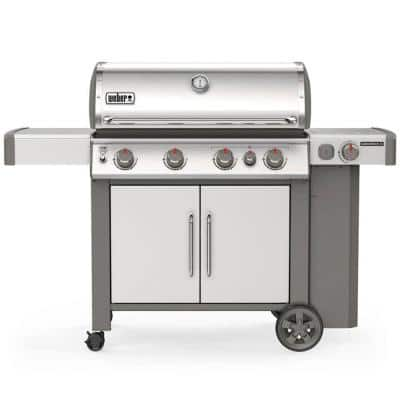 Genesis II S-435 4-Burner Propane Gas Grill in Stainless with Built-In Thermometer and Side Burner