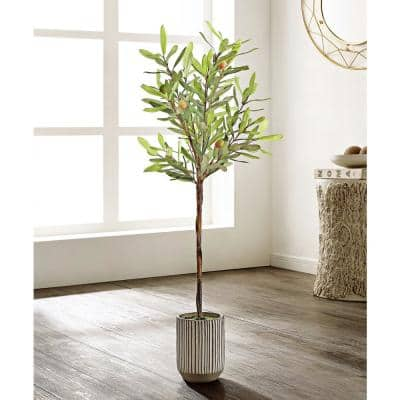 Artificial Olive Tree 36.2 in. White/Gray Cement Pot