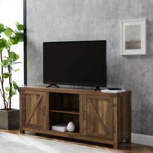 Barn Door 58 in. Rustic Oak Wood TV Stand 60 in. with Doors