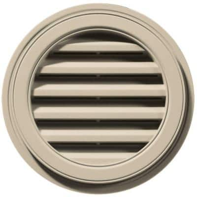 18 in. x 18 in. Round Beige/Bisque Plastic Built-in Screen Gable Louver Vent