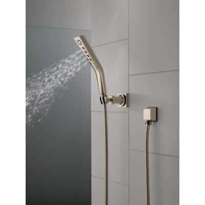 3-Spray Patterns 1.81 in. Wall Mount Handheld Shower Head with H2Okinetic Technology in Lumicoat Polished Nickel