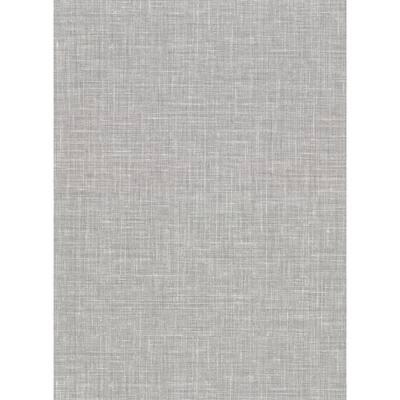 Upton Grey Faux Linen Grey Wallpaper Sample