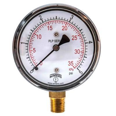 2.5 in. Steel Case Pressure Gauge with Brass Internals and 1/4 in. NPT Bottom Connection with Range of 0-5 psi/kPa