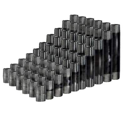 1/2 in. Black Steel Pipe Nipple Assortment, Includes 66 Pipes- 6 of each Length 1 in. - 6 in.