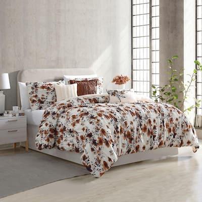 Floral Ridge 6-Piece Multi-Colored King Printed Textured Cotton Blend Comforter Set